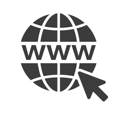 Black Website www Icon with wireframe globe on white background