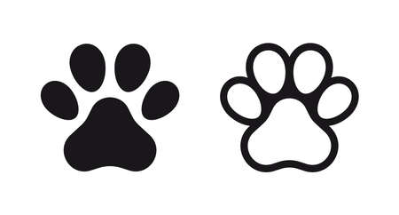 Different animal paw print vector illustrations