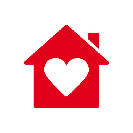 home icon with heart on white background