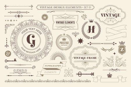 Vintage sign frames. Old decorative frame design, retro ornate label elements and luxurious vintage borders. Premium certificate badge, victorian elegant tag. Isolated vector symbols set