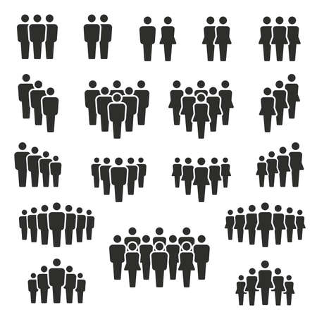 people and population icon set, vector and illustration Vetores