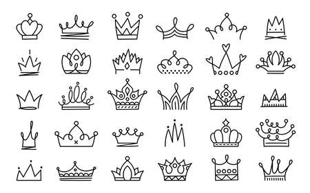 Doodle crowns. Line art king or queen crown sketch, fellow crowned heads tiara, beautiful diadem and luxurious decals vector illustration set. Royal head accessories linear collection 向量圖像