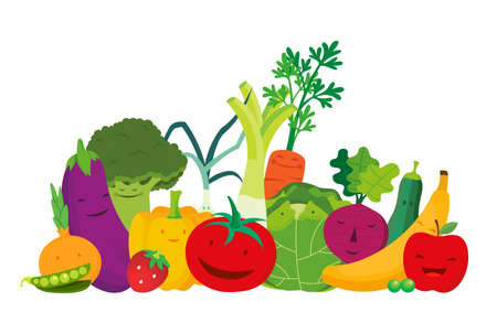 Vegetables and fruits character collection 向量圖像