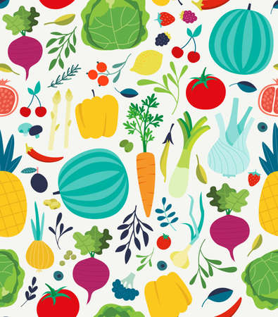 seamless pattern with illustrations of vegetables Illusztráció