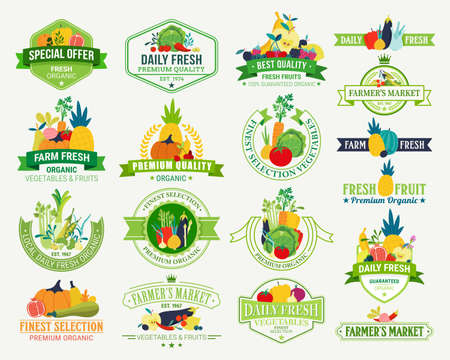 Fruits and Vegetables Logos, Labels, Fruits and Vegetables Icons