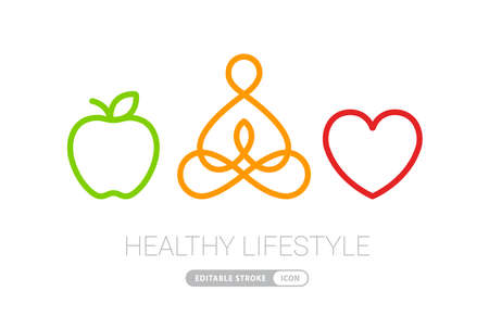 healthy lifestyle icons heart yoga and apple vector illustration