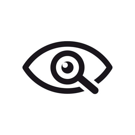 Magnifier with eye outline icon. Find icon, investigate concept symbol. Eye with magnifying glass. Appearance, aspect, look, view, creative vision icon for web and mobile – stock vector 向量圖像