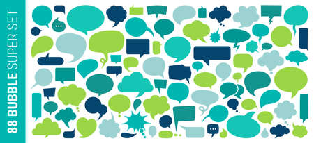Colourful Speech Bubbles set vector illustration and texture