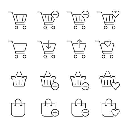 Shopping cart related icons. Thin vector icon set, black and white kit 向量圖像