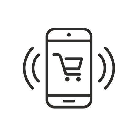 Phone icon with shopping cart. Vector illustration 向量圖像