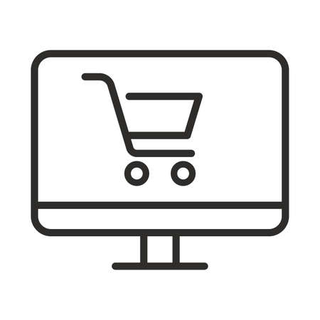 Online shopping icon. Outline online shopping vector icon for web design isolated on white background 向量圖像
