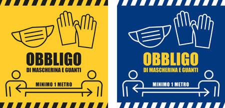 Segnale d'obbligo di mascherina e guanti e distanziamento di un metro in lingua italiana