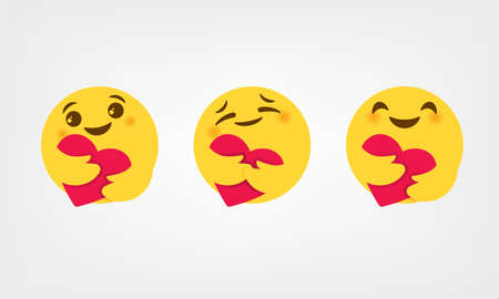 Care reactions New emoticon 2020 high quality vector round yellow cartoon bubble emoticons comment social media chat comment on white background