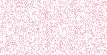 Seamless pattern, hand drawn outline pink Peony flowers on white background