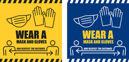 Warning sign to wear protection agains Coronavirus danger and respect social distancing.