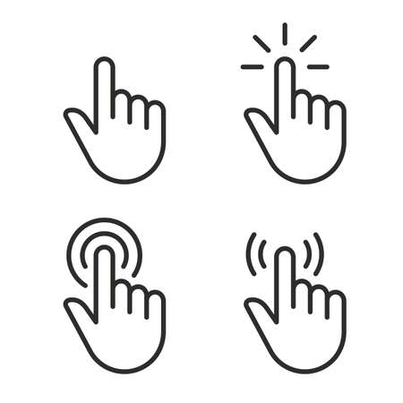 Clicker, Pointer Hand Line Icon. Editable Stroke. Pixel Perfect. For Mobile and Web