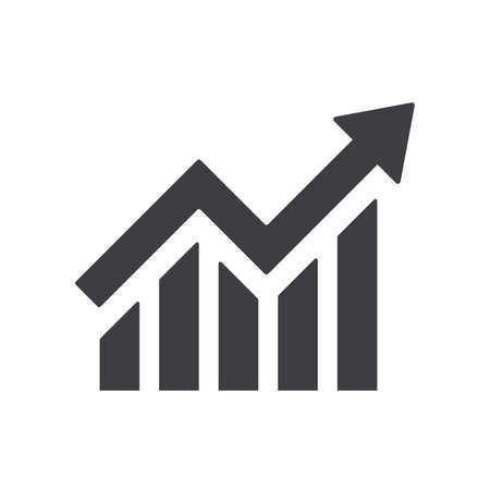 Profit growing icon. Isolated vector icon. Progress bar. Growing graph icon graph sign. Chart increase profit. Growth success arrow icon