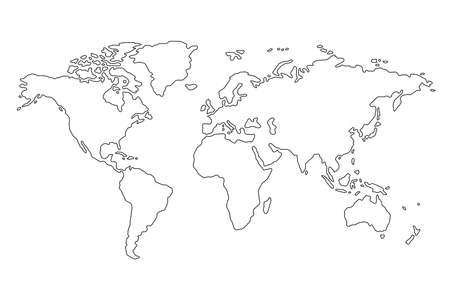 Outline of world map on white background