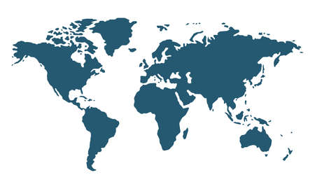 Simple world map in flat style isolated on white background. Vector illustration 向量圖像