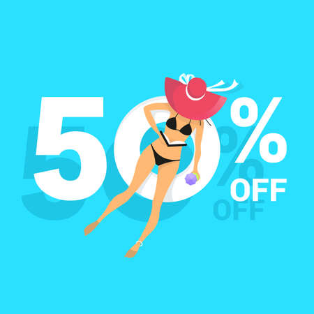 Summer sale banner background with blue water texture and yellow pool float. Vector illustration of sea beach offer poster 向量圖像