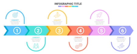 Concept of arrow business model with 6 successive steps. Six colorful rectangular elements. Timeline design for brochure, presentation. Infographic design layout
