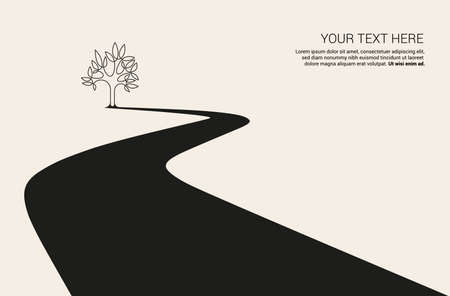 Country road curved highway vector perfect design illustration . The way to nature, trees and forest camping and tourism travel theme. Can be used as a road banner or billboard