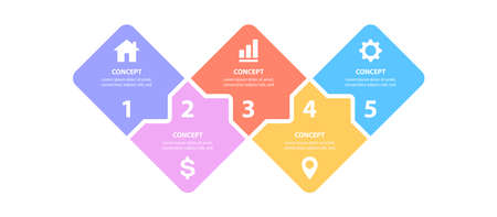 Vector infographic label design template with modern shapes layout. Business concept with 5 steps, options