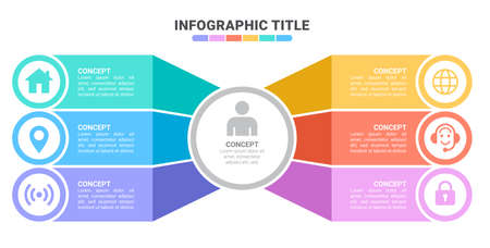 Vector infographic template with 3D paper label, integrated circles. Business concept with 8 options. For content, diagram, flowchart, steps, parts, timeline infographics, workflow, chart 向量圖像