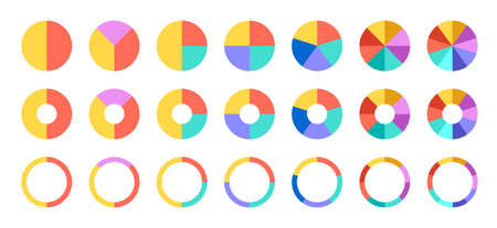 Colorful pie and donut charts. Circle chart, circle sections and round donuts chart pieces. Business infographic vector set. Piechart information template for business workflow and annual reports
