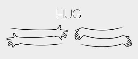 Simple line creating hug drawing. Vector illustration