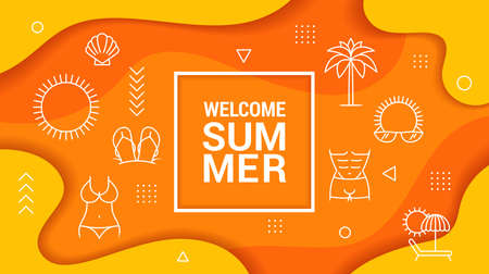 Summer Sale Banner Template for your Business. Vector Illustration