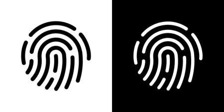 Fingerprint icon. Simple vector illustration on black and white background