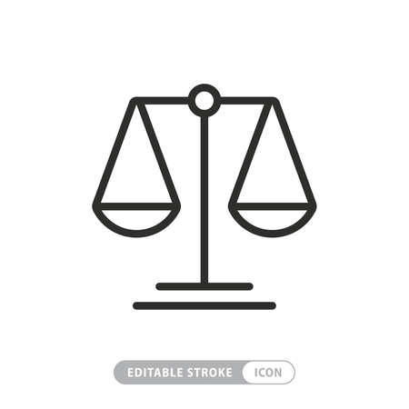 Justice scales line icon. Judgement scale sign. Legal law symbol. Quality design element. Editable stroke.