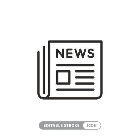 News newspaper vector line web newsletter and app linear icon 向量圖像