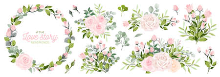 Vector. Wreaths. Botanical collection of wild and garden plants