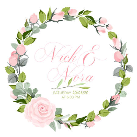 fresh pink floral garden watercolor wreath Ilustrace