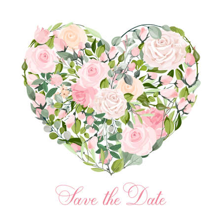 Vector Valentine's day heart of pink roses isolated on a white background