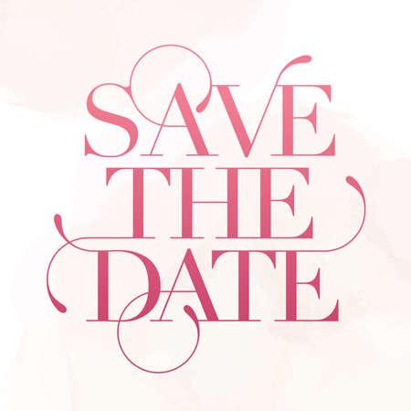 Save the date. Wedding phrase. Brush Lettering. Rose pink foil effect vector illustration 向量圖像