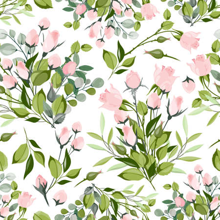 Roses seamless pattern. Red, white and pink roses with leaves. Wedding floral romantic decor for invitation cards. Vector texture bouquet floral rose pink, wedding romantic illustration