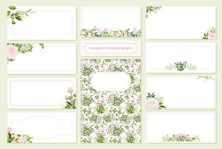 Floral Wedding Invitation card, save the date, thank you, rsvp, table label, tage template. Vector. Rose flower, Succulent, greenery plants 向量圖像