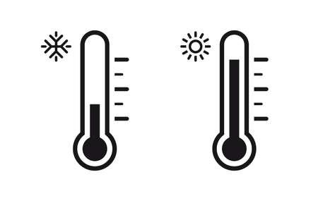 Temperature Symbol Set. Three vector thermometer showing the temperature. Thermometer icon 向量圖像