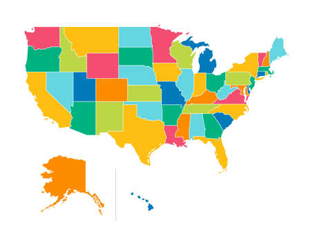 USA political map. Color vector map with state borders