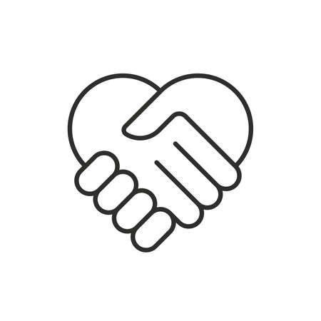Two hands in shape of heart. Vector modern thin line icon