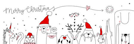 Christmas card with Cute animals. Hand drawn characters. Greeting flyers