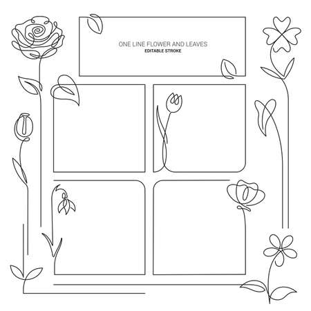 Spring flowers background. Continuous line drawing Frames. Vector illustration