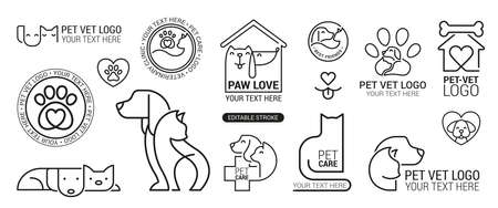 Vet clinic. Pets shop cats dogs domestic animals protection friendly funny symbols vector collection. Illustration vector kitty, domestic animal shop, dog and cat care
