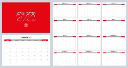 2022 calendar planner set for template corporate design week start on Sunday