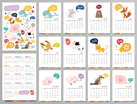 Doodle pastel woodland calendar set 2022 with fox, porcupine, penguin, bear, skunk, flower, leaves for children.Can be used for printable graphic.Editable element