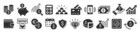 Set Flat Business Icons, money signs