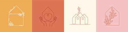 Vector set of abstract design templates in simple linear style - cozy home emblems, houses and plants stay at home